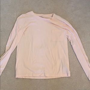 pink long sleeve with a pocket